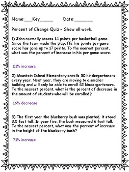 Percent of Change Quiz - Word Problems - Key Included
