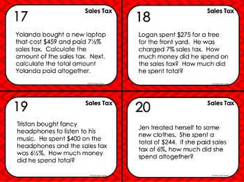 Percent of Change Task Cards with Tips Discount Markup and Sales Tax - EDITABLE
