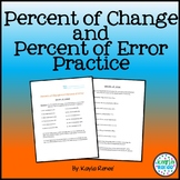Percent of Change and Percent of Error Practice Sheet: 7.RP.3