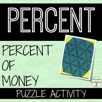 Percent of Money Puzzle Activity for finding percents with