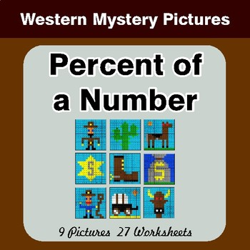 Percent of Number - Color-By-Number Math Mystery Pictures - Hipster Theme