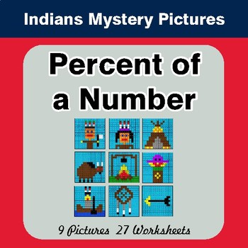 Percent of Number - Color-By-Number Math Mystery Pictures - Indian Theme