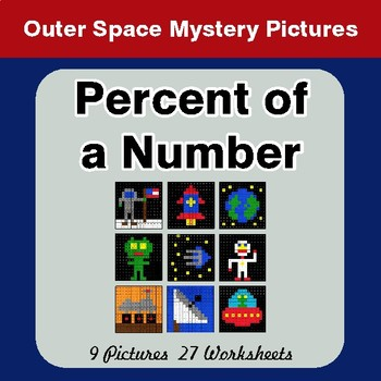 Percent of Number - Color-By-Number Math Mystery Pictures - Space Theme