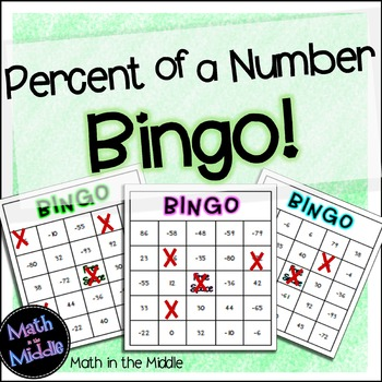 Percent of a Number Math Bingo - Math Review Game