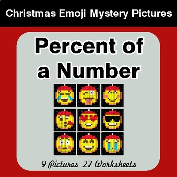 Percent of a Number - Christmas EMOJI Color-By-Number Mystery Pictures