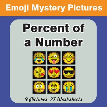 Percent of a Number Color-By-Number EMOJI Math Mystery Pictures
