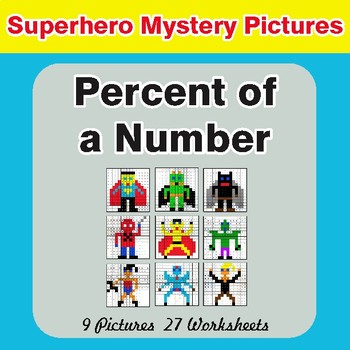 Percent of a Number - Color-By-Number Superhero Math Mystery Pictures