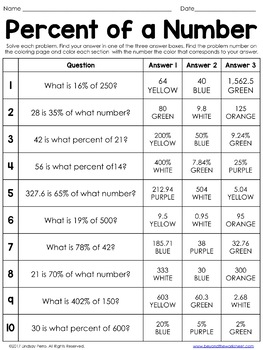 Percent of a Number Coloring Worksheet   Editable by ...