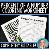 Percent of a Number Coloring Worksheet - Editable