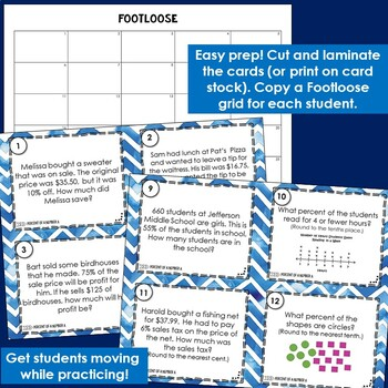 Percent of a Number Task Cards - Footloose Activity (2 sets of cards)