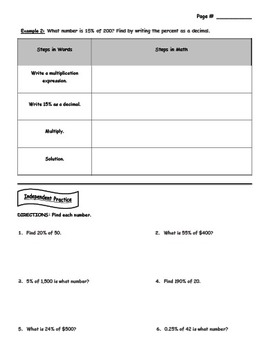 Percent of a Number (Guided Notes) - 7th grade math