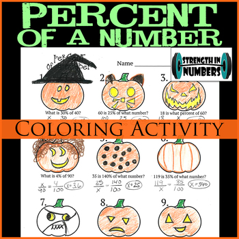Percent of a Number Halloween Jack-O-Lantern Coloring Activity