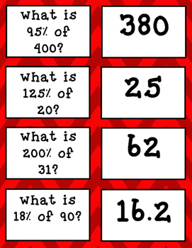 Percent of a Number Matching Game Task Cards
