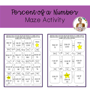 Percent of a Number Maze Activity