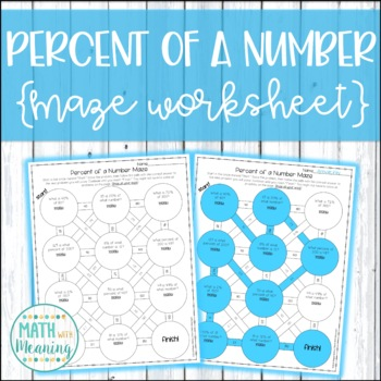 Percent of a Number Maze Activity - Find the Part, Whole, or Percent