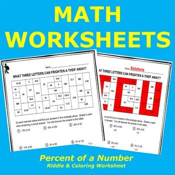 Percent of a Number Riddle Worksheet