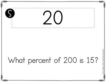 Percent of a Number Scavenger Hunt Activity - Find the Part, Whole, or Percent