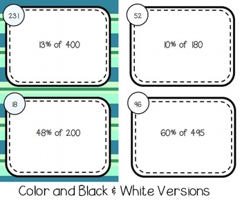 Percent of a Number Self Checking Task Cards
