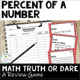 Percent of a Number Truth or Dare Math Game