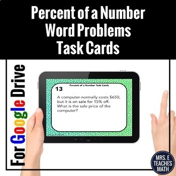Percent of a Number Word Problems Task Cards Digital Activity