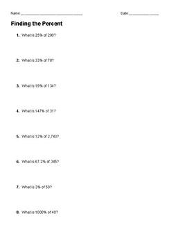 Percent of a Number Worksheet