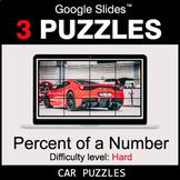 Percent of a number - Hard - Google Slides - Car Puzzles