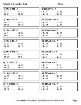 Percent of a number Quiz - Test - Assessment - Worksheets