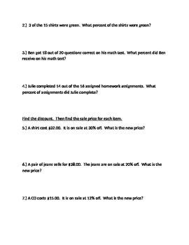 Percent operations quiz