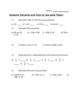 Percent quiz with easy percents