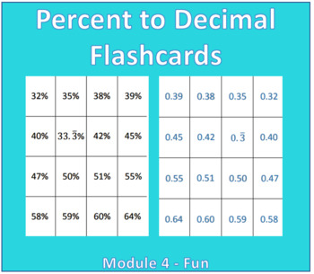 Percent to Decimal Flash Cards