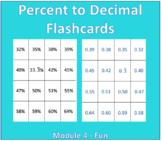 Percent to Decimal Flash Cards