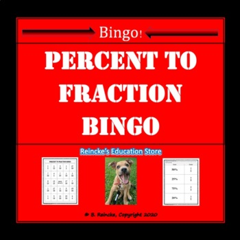 Percent to Fraction Bingo (30 pre-made cards!)