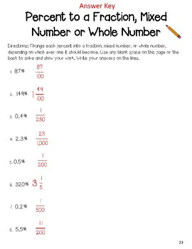 Percent to a Fraction, Mixed Number, or Whole Number