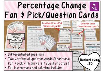 Percentage Change (Fan and Pick Cooperative Learning Cards)