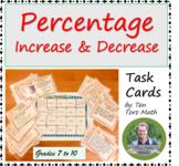 Percentage Increase Decrease Task Cards