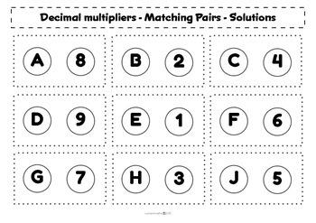 Percentage Increase/Decrease (decimal multipliers) - Matching activity - Math
