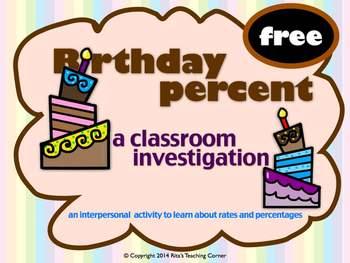FREE Percentage Investigation - A Birthday Interactive Activity