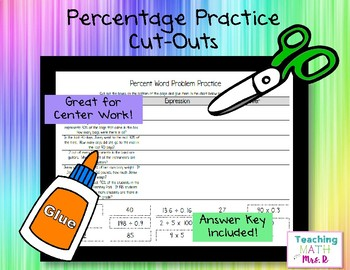 Percentage Practice Cut & Paste Activity