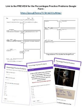 Percentage Practice Problems Interactive Google Form with Worksheet