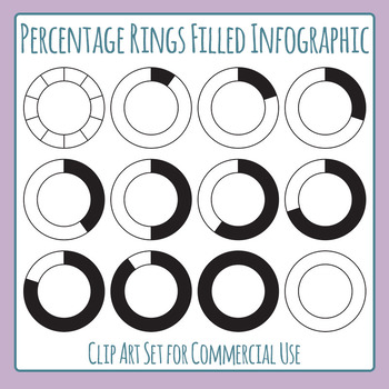 Percentage Rings Black Filled Infographic Elements Clip Art Set Commercial Use