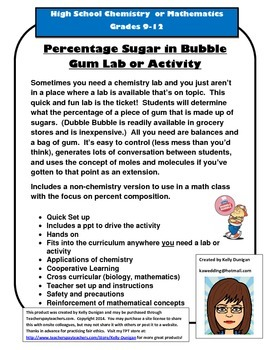 Percent Sugar in Bubble Gum Lab Chemistry, Biology, or Science Activity