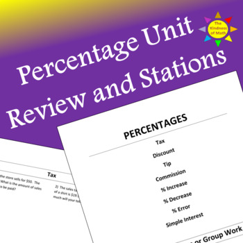 Percentage Unit Review Questions or Stations