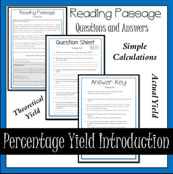Percentage Yield Introduction Reading Passage
