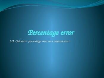 Percentage error