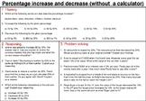 Percentage increase and decrease (non calculator) - master