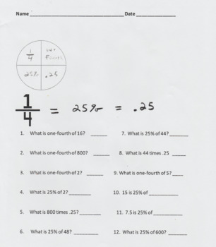 Percentages 25% & 50%, the Fractions 1/4 and 1/2, & the Decimals .25 and .50