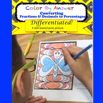 Percentages: Converting Decimals and Fractions Color by Answer Differentiated