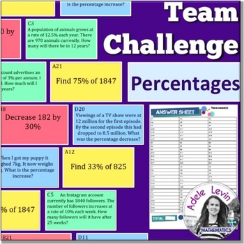 Percentages (TEAM CHALLENGE task cards)