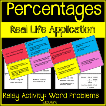 Percentages Word Problems Relay Whole Class Activity