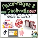 Percentages and Decimals Math Quiz